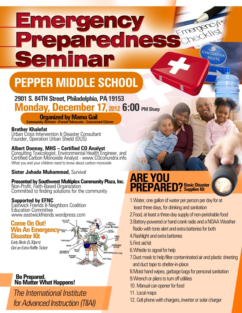 Emergency Preparedness Seminar - Pepper Middle School, Dec. 17, 2012. 6:00PM,